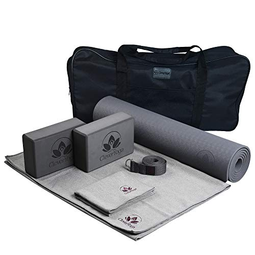 Complete Yoga Set Kit 7-Piece Yoga Mat, Yoga Mat Towel, 2 Yoga Blocks, Yoga Strap, Yoga Hand Towel with a Bag for Storage and Carrying - Great for Home or Travel