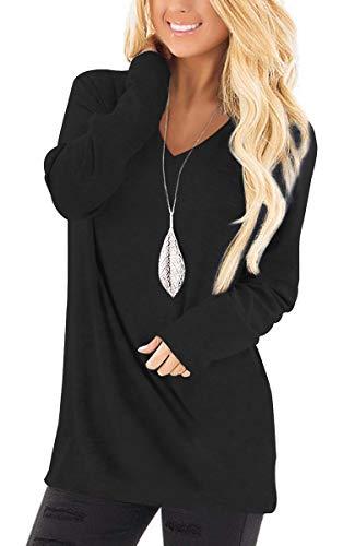 Jescakoo Tunic Tops for Leggings for Women Fall V Neck T Shirts Pullover Long Sleeve Black XL