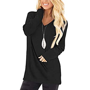 Women's  Basic V Neck Tee Loose Fitting Casual Long Sleeve Tops Tunic