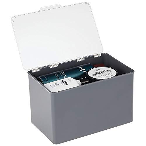 mDesign Aufbewahrungsbox mit Deckel für die Küche, Vorratskammer, das Arbeitszimmer – Stapelbox aus BPA-freiem Kunststoff – kompakte Kunststoffkiste für Haushaltswaren – dunkelgrau und durchsichtig