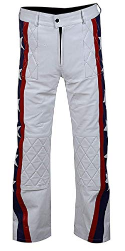 EU Fashions Evel Knievel Daredevil - Chaqueta de Piel sinttica para Motocicleta, Color Blanco Blanco Faux Leather Pants XL