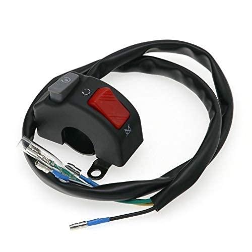 Maquer Interruptor de manillar para motocicleta de 7/8 pulgadas de 22 mm, montaje de 12 V, bocina de luz antiniebla, encendido y apagado (color: predeterminado)