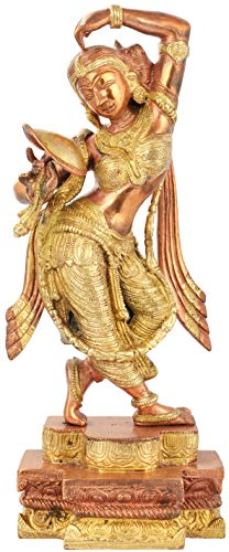 Exotic India A Young Lady Applying Vermilion (A Sculpture Inspired by Khajuraho) - Brass Statue - Color Copper Gold Color