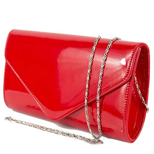 Pochette rossa vernice lucida donna elegante da ragazza signora cerimonia matrimonio borsa a mano piccola clutch borsetta sera giorno primavera estate 2021 primaverile estiva Ecopelle Rosso
