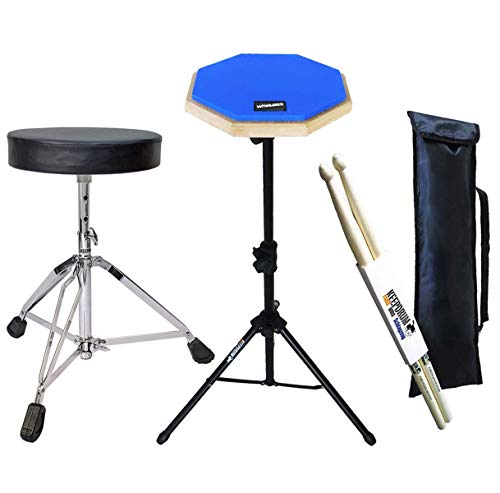 keepdrum DP-BL Practice Drum Pad Blau mit Stativ & Bag + Drumhocker + Drumsticks 1 Paar