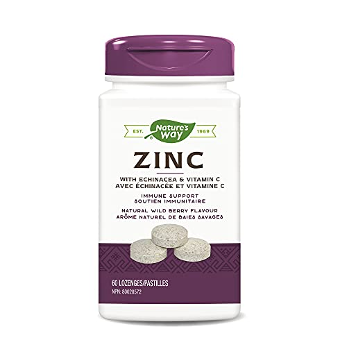 Nature's Way Zinc with Echinacea & Vitamin C, Immune Support, Natural Wild Berry Flavour, 60 Lozenges