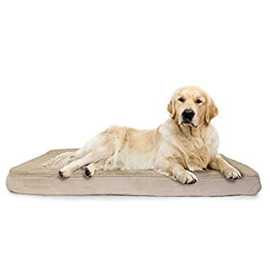FurHaven Deluxe Orthopedic Pet Bed Mattress for Dogs and Cats, Clay, Jumbo