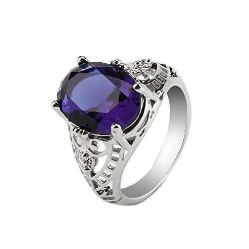 BeautyTop Rings For Womens Silver,Big Diamond Rings For Women,Engagement Rings,Indian Jewellery For Women,Rings Set,MASSIVE BLOW OUT SALE!!!Valentine'S, Wedding,Mothers Day Gifts (Purple, T 1/2)
