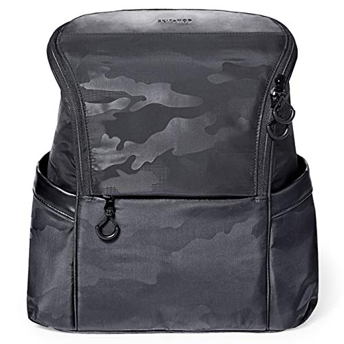 Skip Hop Diaper Bag Backpack, Easy-Access Unisex Bag, Paxwell, Black Camo