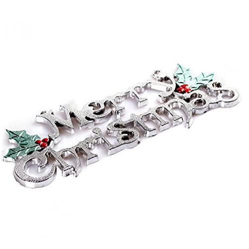 TOSSPER Muestra De La Feliz Navidad Brillante De La Navidad Carta Placa De Navidad Fuera De La para La Puerta del Árbol De La Guirnalda De Decoración De La Pared De Plata