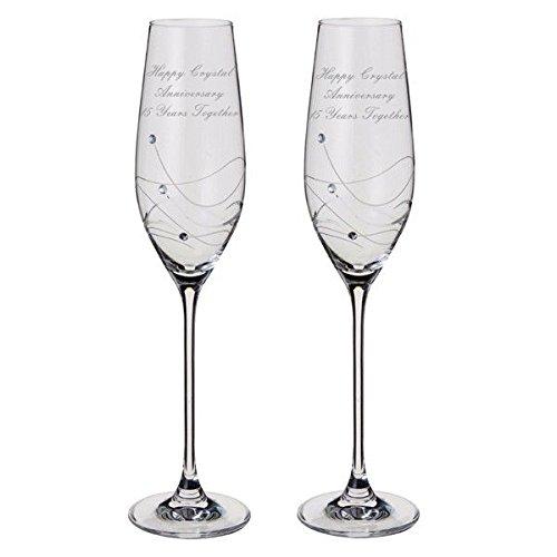Cristal anniversaire Dartington Glitz Paire de flûtes à champagne avec cristaux – 15 ans Ensemble