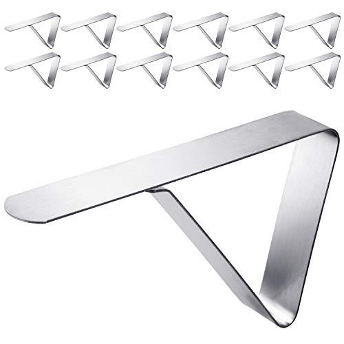 LOPOON Premium Tischdeckenklammer | Tischklammern / Tischtuchklammer aus Edelstahl | Tischdeckenklammern geeignet für Platten bis zu 4cm Dicke - Tischdeckenhalter für draußen & drinnen (12 Stück)