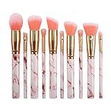 KFGF Kfgf Juego de brochas de maquillaje portátil de mármol 10 piezas cepillo de maquillaje avanzado sintético sombra de ojos corrector cejas polvo crema líquido mezcla cepillo de maquillaje rosa