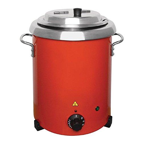 Buffalo Bouilloire à soupe électrique en acier inoxydable avec poignées - 5,7 l - 348 x 255 mm - Rouge
