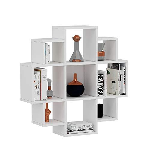 HOMIDEA Bloom Mensola da Muro - Mensola Parete - Mensola Libreria - Scaffale pensile per Studio/Soggiorno in Design Moderno (Bianco)