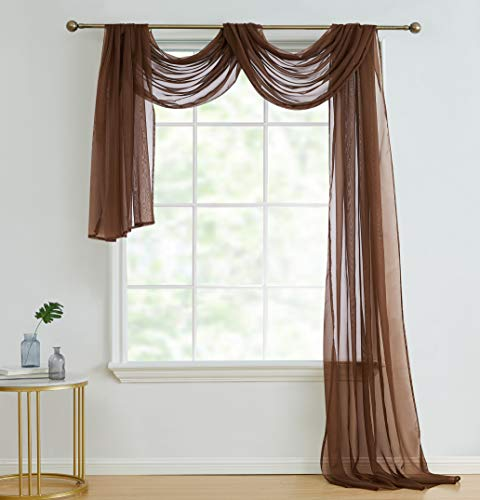 HLC.ME Chocolate Brown Sheer Voile Window Curtain Swag Scarf - Valance - Fully Stitched and Hemmed - 55 x 216 inch Long