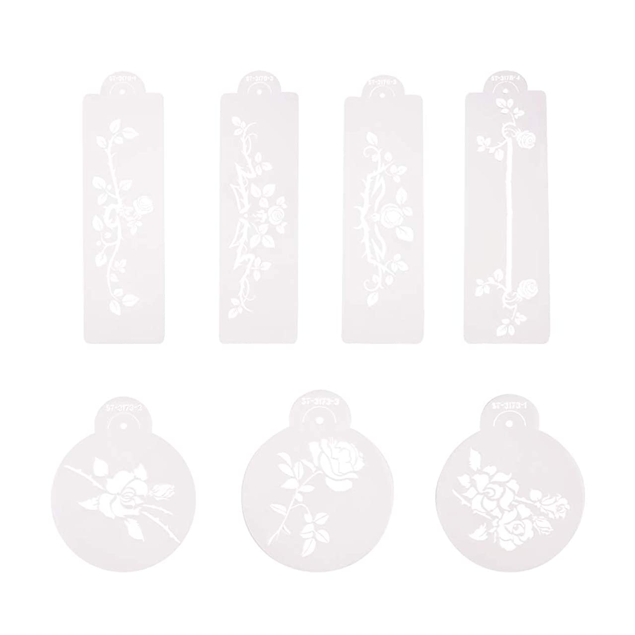 PH PandaHall 7pcs Plastic Flower Drawing Painting Stencil Hollow Hand Accounts Ruler Template for DIY Scrapbooking, Planner, Bullet Journals, Card Making