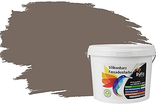 RyFo Colors Silikonharz Fassadenfarbe Lotuseffekt Trend Fango 3l - bunte Fassadenfarbe, weitere Braun Farbtöne und Größen erhältlich, Deckkraft Klasse 1