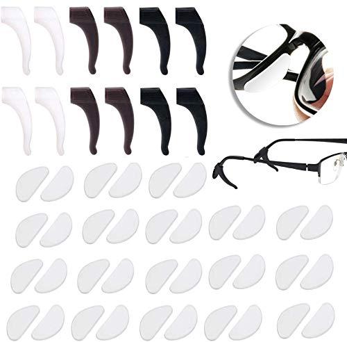 18 Paaren Silikon Brillen Nasenpads Rutschfeste Selbstklebende Weiche Brillenpads Nasenpolster Klicksystem mit 6 Brillen Ohr-bügel-haken Grip Brillenbügel Spitze für Gläser Sonnenbrillen (Klar ,1mm)