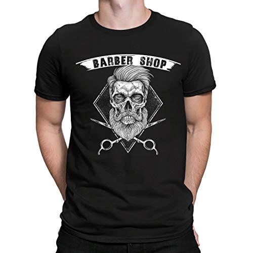 Barber Shop t Shirt Skull Barbershop Tshirt Camiseta de peluquería cráneo, Camiseta para Hombre Manga Corta Hombre Camisetas Cuello Redondo Moda Camisetas, Negro