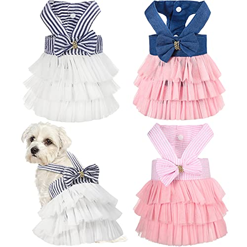 3 Pieces Dog Princess Dresses Puppy Bow Knot Dress Pet Tutu Dresses Striped Mesh Puppy Dog Princess Summer Dressesfor Small Medium Cat Puppy Dog (Large)