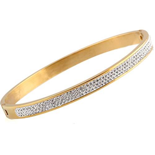 N/A Aniversario del día de la Madre Joyas de brazaletes de Color Dorado de Acero Inoxidable con Cuentas de Cristal Blanco Regalo de cumpleaños de San Valentín