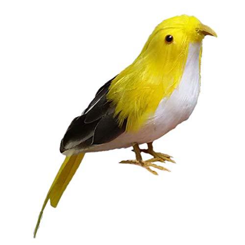 HomeDecTime Künstliche Federvogel Dekovogel Kunstvogel Waldvogel Haus Garten Zaun Dekoration - 6-Gelb Schwarz
