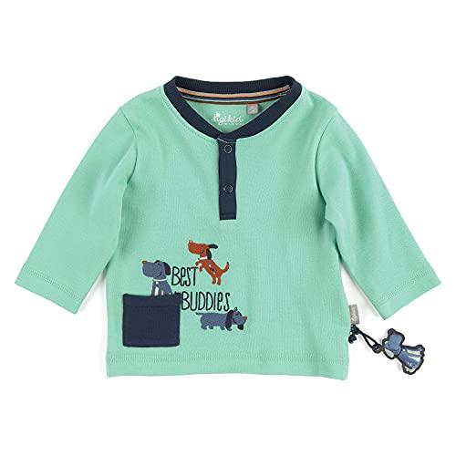 Sigikid Baby-Jungen Langarmshirt T-Shirt, Blau/Hunde-1, 68