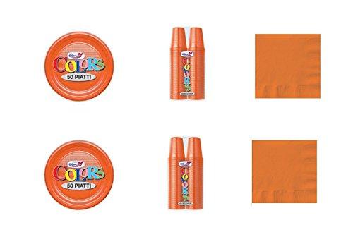 CDC - Kit n°13 Coordinato Monocolore Arancione da tavola per Festa e Party ed Ogni ricorrenza - (50 Piatti, 100 Bicchieri, 50 tovaglioli)