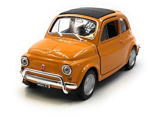 Onlineworld2013 Modellauto Nuova 500 1957-1975 Oldtimer Orange Auto Maßstab 1:34-39 (lizensiert)