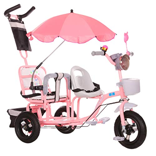 Great Features Of Jiji Baby Stroller Double Children's Tricycle Twin Stroller Second Child Three-Whe...