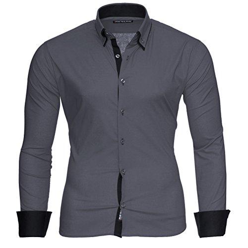 Reslad Hemd Herren Grau Hemden Herrenhemd Männer Hemd Slim Fit Langarm Hemd Grau Business Businesshemden Bügelfrei Hochzeit Anthrazit-Schwarz Gr. L