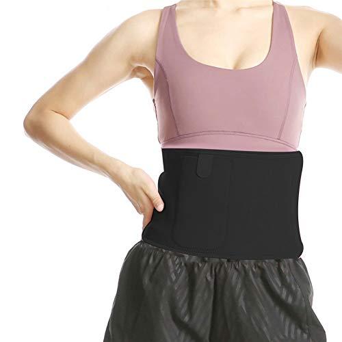 XQxiqi689sy Schweißgürtel für Sport, Workout, Zuhause, verstellbar, Fitness, schlankmachend, Taillen-Trainer M Schwarz