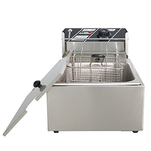 Freidora Acero Inoxidable Freidora 6L, Freidora Eléctrica Frying Frying Pan 2500W, Para El Hogar Y El Restaurante Para Comida Para Cocinar Papas Fritas