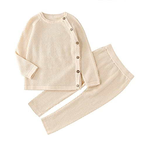 0-2 Years Unisex Baby Knit Clothing Set Infant Newborn Girls Boys Cotton Sweater Pullover Tops Pants Outfits Pajamas Set Beige