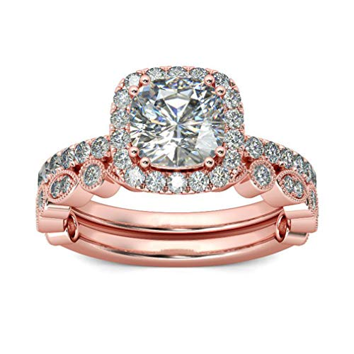 Iumer Rose Gold Bridal Set Zircon Wedding Engagement Couple Stacking Ring Set Women Jewelry,7