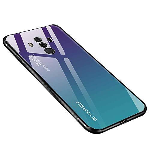Hülle für Huawei Mate 10 Pro, Gehärtetes Glas Zurück mit Weichem TPU Silikon Rahmen Handyhülle Farbverlauf Farbe Case Schutzhülle für Huawei Mate 10 Pro (Lila-Blau)