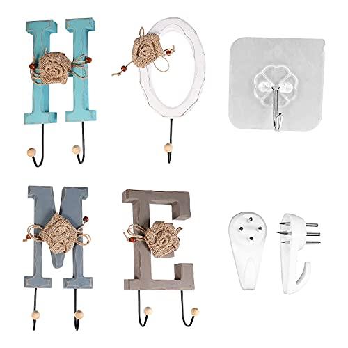 Ganchos de pared, ganchos de ropa creativa gancho de madera con elega letra con estilo ganchos de toalla para el hogar / de amor ganchos de ganchos Organizador de la entrada de la perspectiva del baño