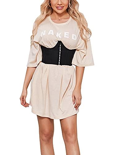 Huyghdfb Frauen Mädchen Elastischer Breiter Taillenbund Stahl Ohne Knochen Korsett Taillengürtel Bustiers Shapewear (Black, Medium)