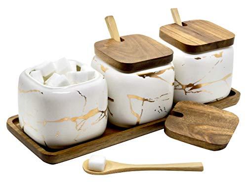LaBrize Keramik Gewürzbehälter 3er Set Zucker- und Salzdosen-Set - In edler Marmor Optik - Eyecatcher Gewürzdose mit Echtholzdeckel und Bambus Servierlöffel, inkl. Echtholztablett (Perlweiß)