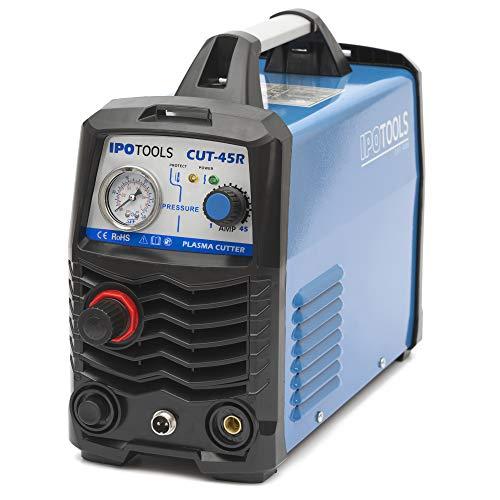 IPOTOOLS Plasmaschneider CUT-45R – Plasmaschneidgerät 45A bis 12 mm Schneidleistung Inverter Schweißgerät Plasma Cutter mit IGBT/HF Zündung/Blau / 230V - 6