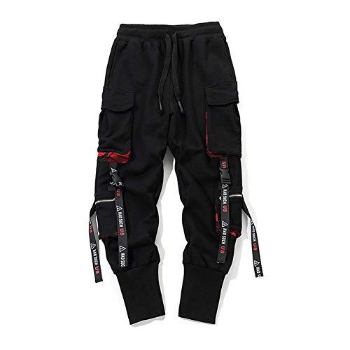 Huaheng Herren Arbeit Kampf Cargohose mit Taschen Schnalle Riemen Techwear Hose - 2XL