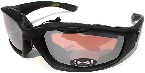 Night Driving Riding Padded Motorcycle Glasses 011 Black Frame with Yellow Lenses (Black - High Definition Lens)
