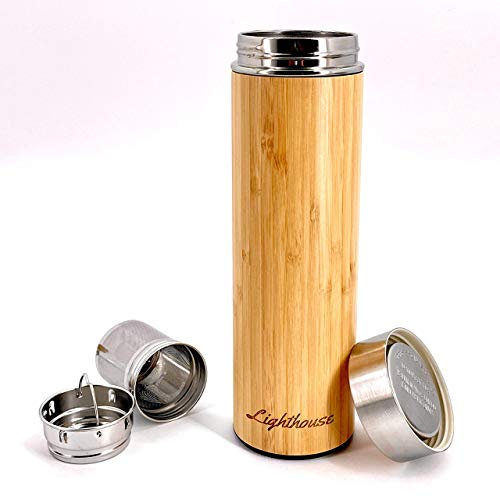 Bamboo Wood Reusable Thermos Bottle Sustainable Stainless Steel Vacuum Double Insulated...
