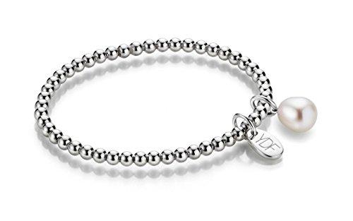 YoungDiamondFashion YDF Spheric-Pearl Kugelarmband flexibel 4 mm Länge 18 cm 925 Sterlingsilber rhodiniert echter Diamant 0,01 Carat und echte Süßwasserperle