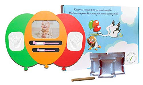 MATROS | Cornice Impronte Neonato e Braccialetti Nascita | Kit Impronte Completo con Argilla Atossica e Anti-crepa | 3 Cornici in 1| Originale Idea Re