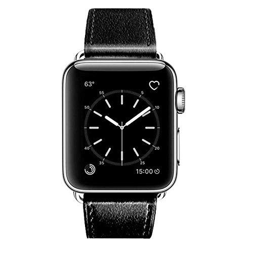 Langy Leren bandje in 3 kleuren voor Apple Watch, serie 5/4/3/2/1 armband., 40mm, zwart