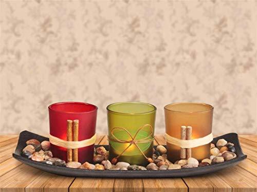 Nice Dream Teelichthalter, Teelichthalter mit 3 Teelichter, Dekoschale mit Kerzen, Tischdekoration, Weihnachtsdekoration, Deko für Geburtstag, Party, Hochzeit, 26cm x 10cm x 8cm