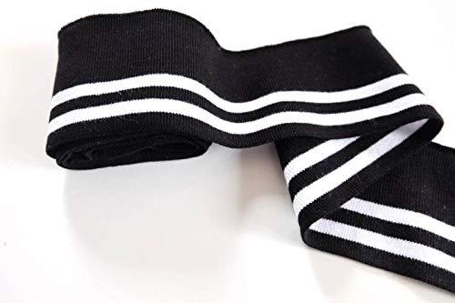 Strickbündchen, einfaches Collegebündchen mit weißen Streifen zum Nähen (Schwarz)