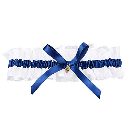 Cikuso Giarrettiere Fiocco Raso da Sposa Cerimonia Nuziale Fiori Blu Reale